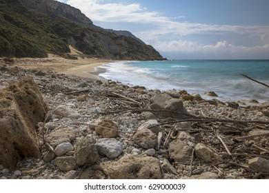 Winter Beach, Koroni Beach, Kefalonia, Greece.