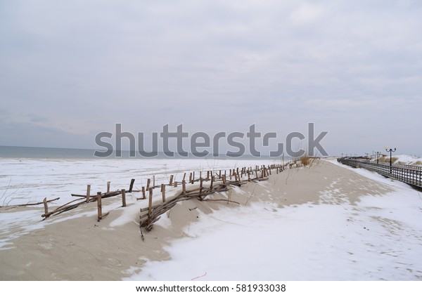Winter beach. Lake Michigan at Sleeping Bear Dunes National Lakeshore, Empire, Michigan