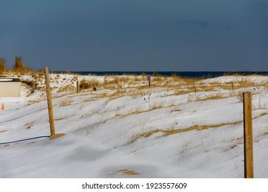 Winter beach scene in Sea Girt, New Jersey