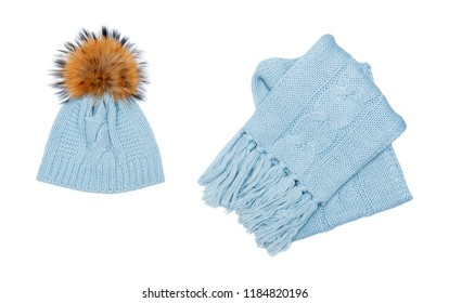 Winter beanie and scarf set isolated on white background