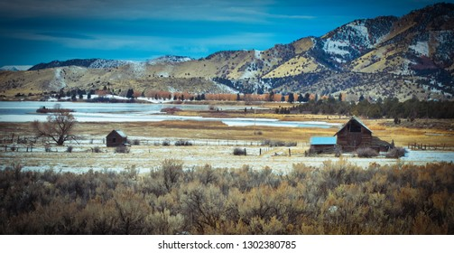 Winter begins early in the higher elevations. In a harsh winter environments like this one, it`s hard to believe that these abandoned out-buildings from the pioneer days still stand.
