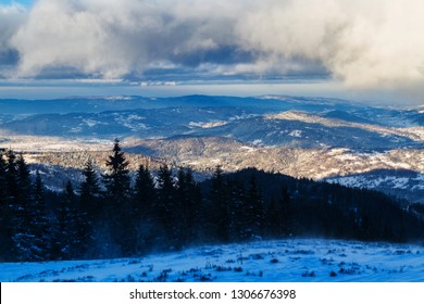 Winter in Beskidy mountains near Pilsko, Babia Gora and Hala Miziowa in Beskid Zywiecki, Poland. Beskid Zywiecki is a part of Carpathian mountains.