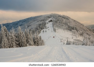 Winter in Beskidy mountains near Szyndzielnia