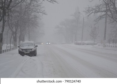 Winter blizzard in the street.