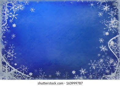 Winter blue Christmas grungy background with snow flakes