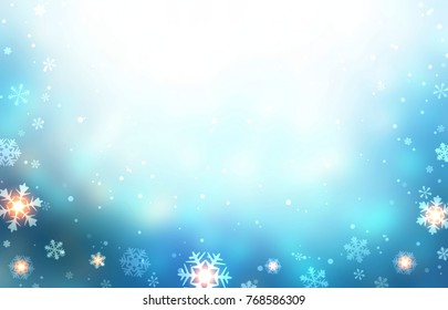 Winter blue glare empty background decorated snow, sparkles and snowflakes. Christmas trend. New Year festive illustration.