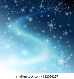 Winter blue sky with snowflakes, stars and Milky way