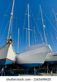 Winter boat covers and shrink wrap on sailboats