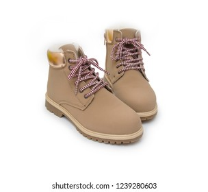 Winter boots isolated on the white background