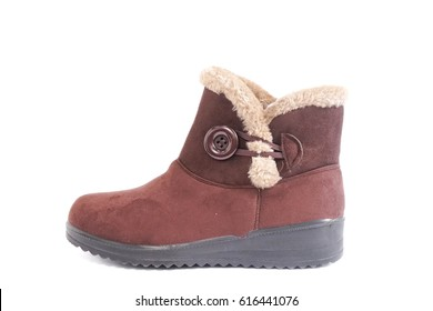 winter boots isolated on a white background. Warm Australian shoes. Women's fashion boots.
