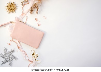 Winter Border with Pink Clutch Purse
