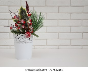 winter bouquet on white background