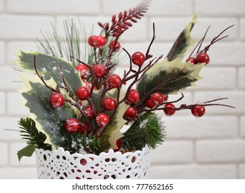 Winter bouquet with red berries
