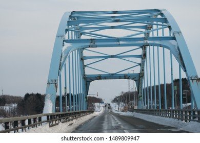 Winter bridge scenery in Hokkaido, Japan