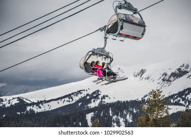 winter cable car in the mountains