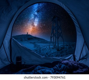 Winter camp with milky way in the mountains