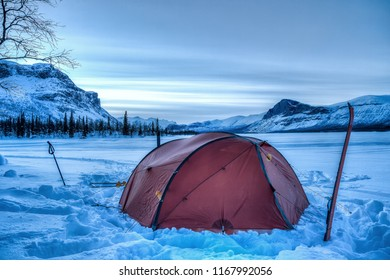 Winter Camp on the Kungsleden Hiking Trail with Skierfe in the Background