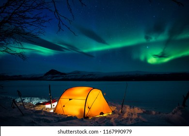 Winter - Camp on the Kungsleden with Northern Lights
