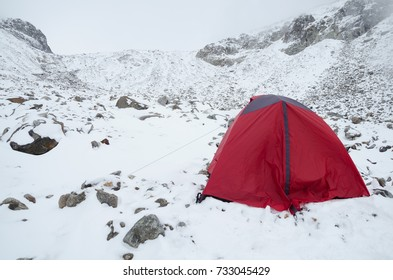 Winter camping on snow in the Swiss Alps
