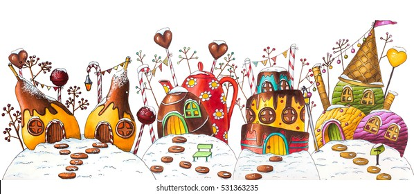 Winter Candy Land Street - Marker Illustration (Pears, Cake, Ice Cream, Teapot)
