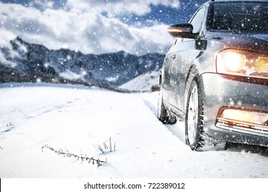 winter car and road of snow