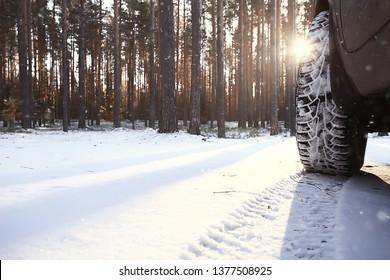 winter car trip / northern europe, scandinavia winter road by car