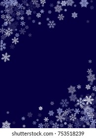 Winter card border of snow flakes falling image background. Snowflake flying border macro illustration,card or banner with snow elements, flakes confetti scatter frame. Cold weather winter symbols.