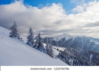 Winter Carpathians. View to Strymba mountain