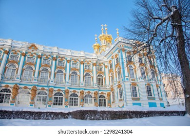 Winter Catherine palace architecture with blue sky Saint Petersburg famous rich royal historical building