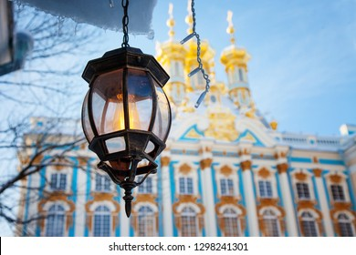Winter Catherine palace architecture with old city light Saint Petersburg famous rich royal historical building