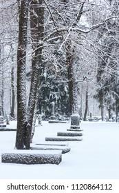 Winter cemetery in Lappeenranta, Finland