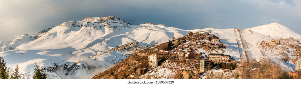 Winter at the Chilean Andes, snow town of Farellones. Skiing at high altitude