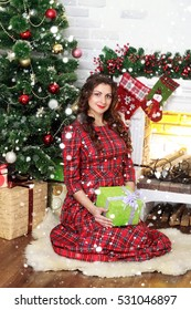 winter, christmas, animal, people, beauty concept- Young beautiful woman in red dress with gift sits near Christmas tree at home. New year and Christmas. over snow background