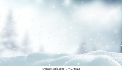 Winter Christmas background.Merry Christmas and happy New Year greeting card with copy-space.Christmas landscape