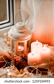 Winter and christmas candles.
