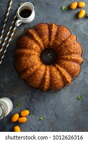 Winter citrus pound bundt cake with orange zest maple cirup