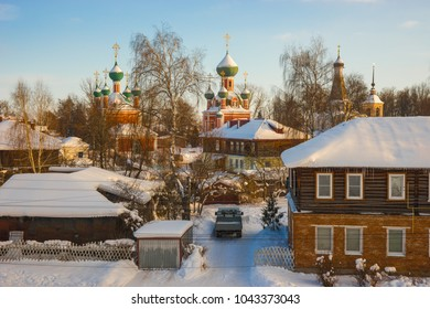 Winter city landscape in Pereslavl Zalessky in the Yaroslavl region in Russia
