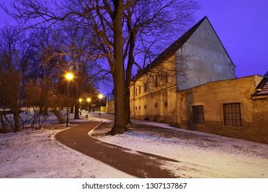 winter city park, city Kolín, Czech republic,