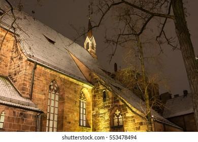 Winter city.Snow.Night.Nuremberg.Germany.