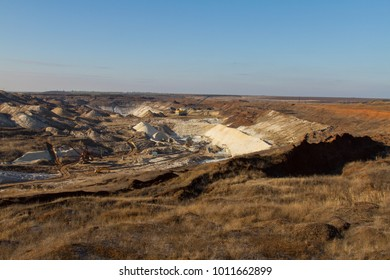Winter clay quarry in the Zaporozhye region. Ukraine. January 2018