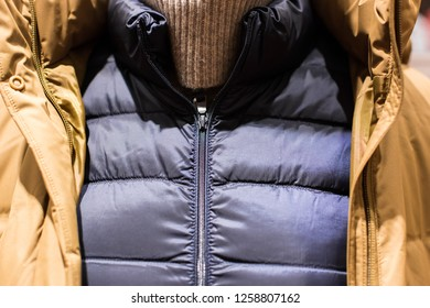 Winter clothes - a snapshot of the upper body at close range