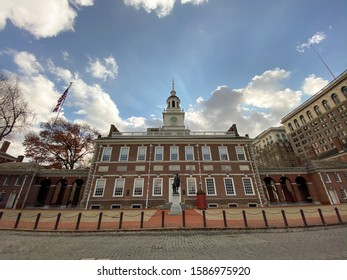 The winter clouds fly above the Independence Hall building in Philadelphia, Pennsylvania, where the Declaration of a independence was signed.
