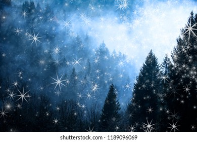 Winter cloudy forest landscape with abstract snowflakes.