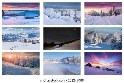 Winter collage with 9 different Christmas landscapes. Carpathian region, Ukraine, Europe.