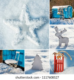 Winter collage with several pictures