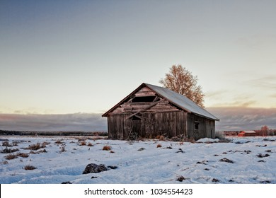 The winter is coming to the Northern Finland. The setting sun lights up the old abandoned barn house on the frosty fields.