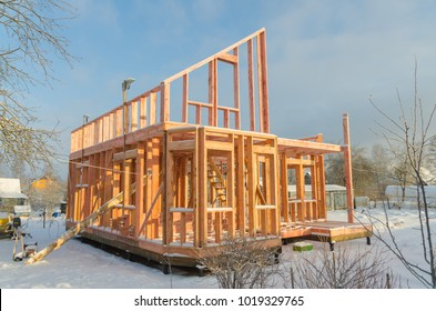 the  winter, the construction of a frame wooden house on a pile Foundation