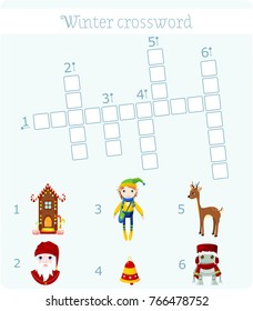 Winter crossword with pictures for children. Six words. Raster clip art.