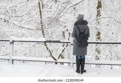 Winter day in the city of Gomel. Belarus. Blizzard.