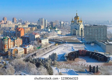 Winter day in Khabarovsk. Glory square. Transfiguration Cathedral. Far East, Russia.